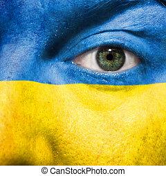 ウクライナ, 目, ショー, ペイントされた, サポート, 顔, マッチ, 旗, 緑, スポーツ