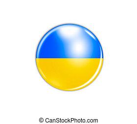 ウクライナ, 隔離された, 旗, 背景, 白, アイコン