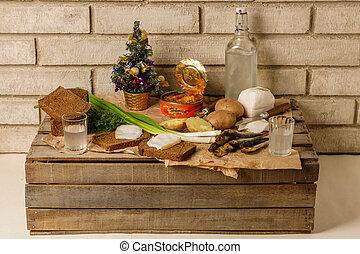 ウクライナ, outdoor., snac, 年の, 伝統的である, 新しい, ロシア人, テーブル