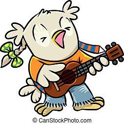 ウクレレ, 歌うこと, owl., 面白い, 鳥, わずかしか