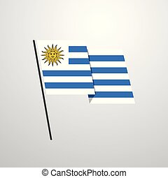 ウルグアイ, 揺れている旗, ベクトル, デザイン, 背景