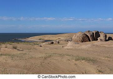 ウルグアイ, 砂丘, de, -, barra, の後ろ, valizas