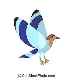 エキゾチック, かわいい, 現代, 明るい, style., 青, plumage., 隔離された, トロピカル, バックグラウンド。, indian, 素晴らしい, 幾何学的, 鳥, birdie., 平ら, avian, カラフルである, イラスト, 白, ローラー, 有色人種, species., ベクトル