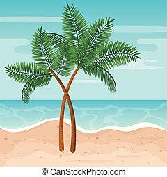 エキゾチック, やし, 木, 砂の 海, 浜