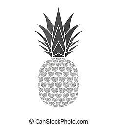 エキゾチック, デザイン, healthy., 隔離された, 銀, トロピカル, バックグラウンド。, 白, logo., 自然, シンボル, 食物, イラスト, フルーツ, ビタミン, 有機体である, 要素, ベクトル, パイナップル, hearts., icon., 夏