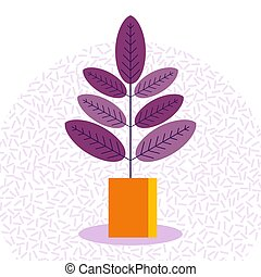 エキゾチック, トロピカル, 屋内, ficus, 植物, 中に, a, フラワーポット, 上に, a, 白,...