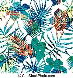 エキゾチック, パターン, plants., seamless, トロピカル