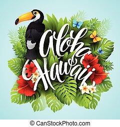 エキゾチック, レタリング, hawaii., aloha, 手, flowers., ベクトル, イラスト