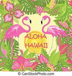 エキゾチック, 夏, ファッション意匠, tshirt, ピンク, 太陽, 夏である, aloha, トロピカル, 暑い, 他, 印刷, パーティー, 対, レタリング, ポスター, 花, ハワイ, 葉, フラミンゴ, 袋