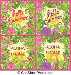 エキゾチック, 夏, ファッション, tshirt, デザイン, ワイシャツ, プリント, 太陽, 夏である, aloha, トロピカル, 暑い, 他, パーティー, レタリング, ポスター, 変化, 花, 背景, ハワイ, 葉, こんにちは