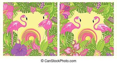 エキゾチック, 夏, フラミンゴ, ポスター, 袋, 太陽, 葉, 夏である, 背景, 変化, 花, トロピカル, 対, 熱い ピンク, デザイン, tshirt, 花, パーティー, 美しい
