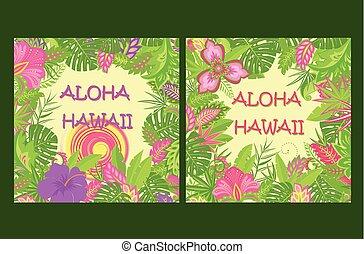 エキゾチック, 夏, プリント, ワイシャツ, 太陽, 夏である, ポスター, ハワイ, aloha, 葉, トロピカル, 袋, 暑い, 他, デザイン, 変化, tshirt, パーティー, 花, レタリング