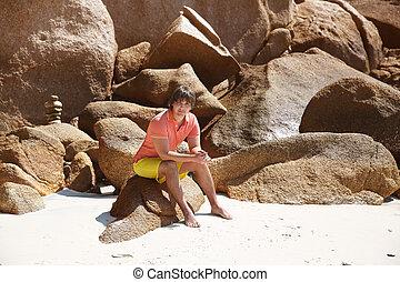 エキゾチック, 夏, 屋外, island., vacation., 隔離された, に対して, トロピカル, portrait., rocks., 人, 浜, ハンサム