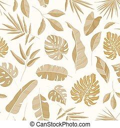 エキゾチック, 夏, 木。, 葉, 背景, 包むこと, seamless, イラスト, トロピカル, 織物, 現実的, rainforest., ベクトル, paper., ジャングル, パターン, モノクローム, 印刷, 植物, luxuriant