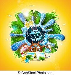 エキゾチック, 夏, 花, 黄色, 招待, 植物, 船, 旗, フライヤ, トロピカル, バックグラウンド。, はね返し, プール, 休日, 車輪, サングラス, ポスター, イラスト, 水, パンフレット, ステアリング, カード, 葉, 挨拶, ベクトル, ∥あるいは∥