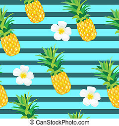 エキゾチック, 夏, pattern., seamless, イラスト, トロピカル, 背景, 織物, ラッパー, パイナップル, 壁紙, 花, ∥あるいは∥