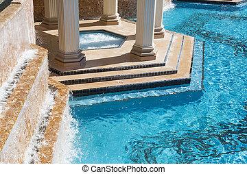 エキゾチック, 抽象的, 暑い, 贅沢, タブ, プール, 水泳