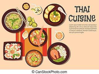 エキゾチック, 料理, 皿, 平ら, 人気が高い, タイ人, アイコン