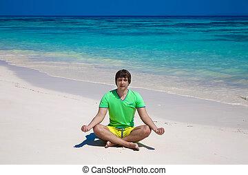 エキゾチック, 浜, ヨガ, ロータス, 島, ポーズを取りなさい, 若い, トロピカル, バックグラウンド。, meditation., 人