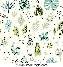エキゾチック, 葉, 手, 引かれる, ベクトル, seamless, パターン