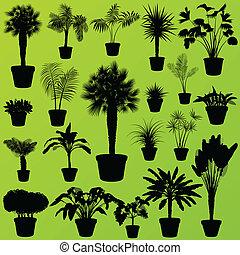 エキゾチック, 薮, 概念, 家, 木, ベクトル, 草, 植物, セット, やし, ジャングル, 背景, ポスター,...