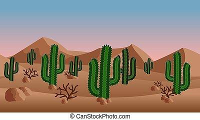 エキゾチック, 薮, 砂丘, バックグラウンド。, 砂, サボテン, 砂漠の 景色