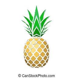 エキゾチック, 金, デザイン, シルエット, healthy., 隔離された, トロピカル, バックグラウンド。, 白, logo., グランジ, 自然, シンボル, leaf., 食物, イラスト, フルーツ, ビタミン, 有機体である, 要素, ベクトル, パイナップル, icon., 夏