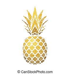 エキゾチック, 金, 金, デザイン, シルエット, healthy., 隔離された, トロピカル, バックグラウンド。, 白, logo., 自然, シンボル, leaf., 食物, イラスト, フルーツ, ビタミン, 有機体である, 要素, ベクトル, パイナップル, icon., 夏
