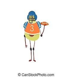 エキゾチック, 面白い, フルーツ, 特徴, 運動選手, フットボール, アボカド, イラスト, ユニフォーム, プレーヤー, アメリカ人, ベクトル, スポーツ, ボール, 漫画