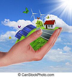 エコロジー, そして, 安全である, エネルギー