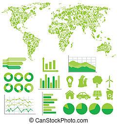 エコロジー, そして, 環境, infographics