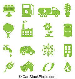 エコロジー, アイコン, セット