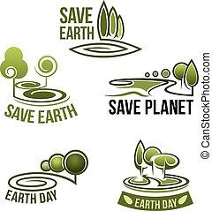 エコロジー, アイコン, 自然, 環境, ベクトル, 地球