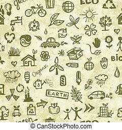 エコロジー, グランジ, パターン, concept., seamless, ペーパー, デザイン, あなたの