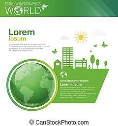 エコロジー, スペース, エネルギー, 環境の保護, 緑, infographics, 世界, コピー, 旗