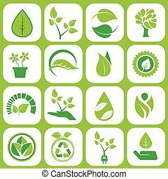 エコロジー, セット, アイコン
