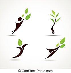 エコロジー, セット, 人間, アイコン