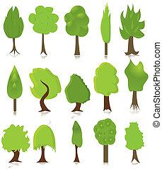 エコロジー, セット, 緑の木, デザイン
