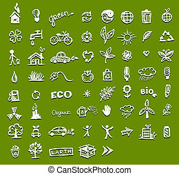 エコロジー, デザイン, あなたの, アイコン