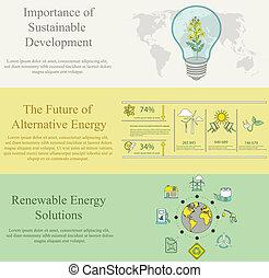エコロジー, デザイン, 平ら, 概念