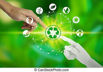 エコロジー, ネットワーク, アイコン, 知性, 上に, 自然, ロボット, 事実上, 環境, 接続, 背景, 人工, 人間の術中, 感動的である, 技術, concept.
