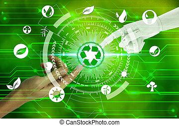エコロジー, ネットワーク, アイコン, 知性, 上に, 自然, ロボット, 人工環境, 感動的である, 背景, 事実上, 人間の術中, リサイクルしなさい, 接続, 技術, concept.