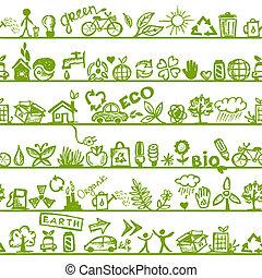エコロジー, パターン, concept., seamless, デザイン, あなたの