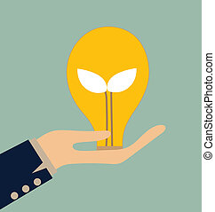 エコロジー, ライト, 木, bulb., 成長しなさい, 電球