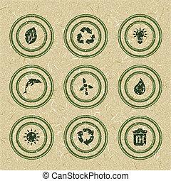 エコロジー, リサイクルされる, スタンプ, ペーパー, 緑, icons: