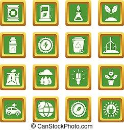 エコロジー, 三角定規, アイコン, ベクトル, 緑