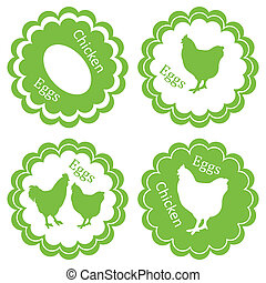 エコロジー, 切手, 卵, ラベル, 農場, ベクトル, 緑の背景, 鶏