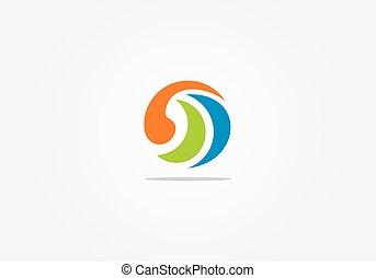 エコロジー, 抽象的, ベクトル, ロゴ, 円, 技術