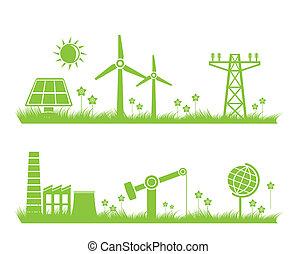 エコロジー, 抽象的, 産業, 自然