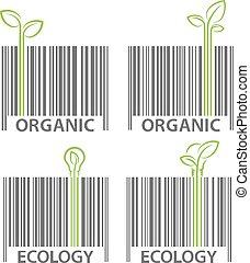 エコロジー, 有機体である, シンボル, barcode, ベクトル, セット